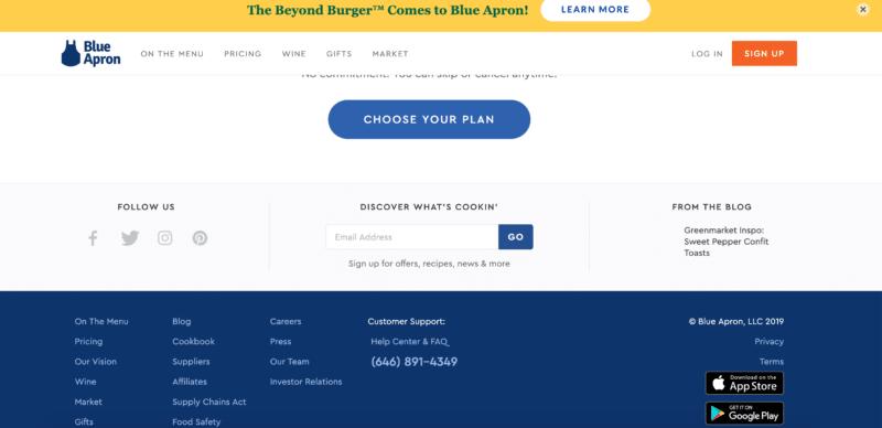 blue apron homepage