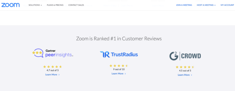 zoome testimonials on the homepage